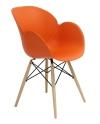 King Home fotel FLOWER DSW PREMIUM pomarańczowy polipropylen, podstawa bukowa FL-O8W.POMARANCZOWY RABATY w koszyku, żarówka/żarówki LED gratis!