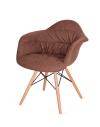 King Home Fotel RUGO ARM brązowy tkanina, podstawa bukowa RABATY w koszyku, żarówka/żarówki LED gratis!