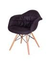King Home Fotel RUGO ARM czarny tkanina, podstawa bukowa RABATY w koszyku, żarówka/żarówki LED gratis!