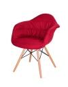 King Home Fotel RUGO ARM czerwony tkanina, podstawa bukowa RABATY w koszyku, żarówka/żarówki LED gratis!