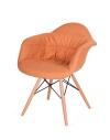 King Home Fotel RUGO ARM pomarańczowy tkanina, podstawa bukowa RABATY w koszyku, żarówka/żarówki LED gratis!
