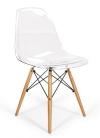 King Home Krzesło ICE WOOD transparentne poliweglan, podstawa bukowa RABATY w koszyku, żarówka/żarówki LED gratis!