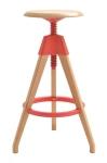 King Home Hoker TOM czerwony polipropylen, podstawa drewniana RABATY w koszyku!