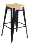 King Home Hoker TOWER WOOD 65cm czarny jesion, metal RABATY w koszyku, żarówka/żarówki LED gratis!