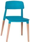 King Home Krzesło ECCO PREMIUM turkusowe polipropylen, podstawa bukowa RABATY w koszyku!