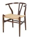 King Home Krzesło WISHBONE ciemnobrązowe drewno bukowe, naturalne włókno RABATY w koszyku!