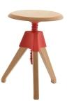 King Home Stołek JERRY czerwony polipropylen, drewno RABATY w koszyku!