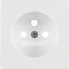Q.x Płytka czołowa do gniazda z uziemieniem, biały, aksamit
